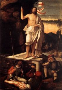 "instead of about this. ""Resurrection of Christ"" by Marco Basaiti, 1520"