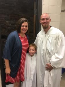 Levi getting baptized on our last Sunday at FBC Midland